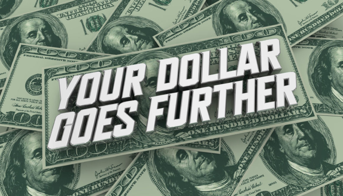 Your Dollar Goes Further Money Cash Discount Sale Value 3d Illustration