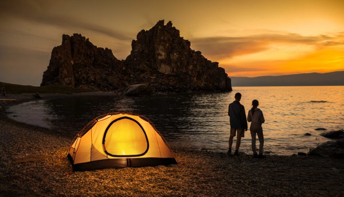 Camping at lake and beautiful sunset