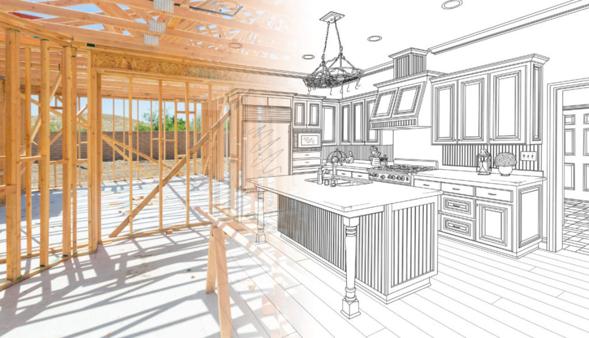 House Construction Framing Gradating Into Kitchen Design Drawing.