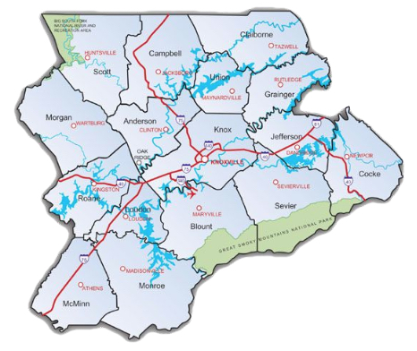 East Tennessee County Map